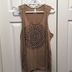 Roper Tan Braided Fringe Graphic Tank Top